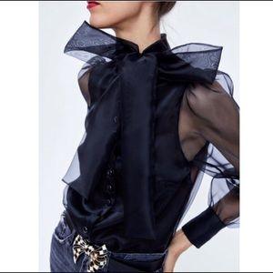 Zara Black Organza Blouse